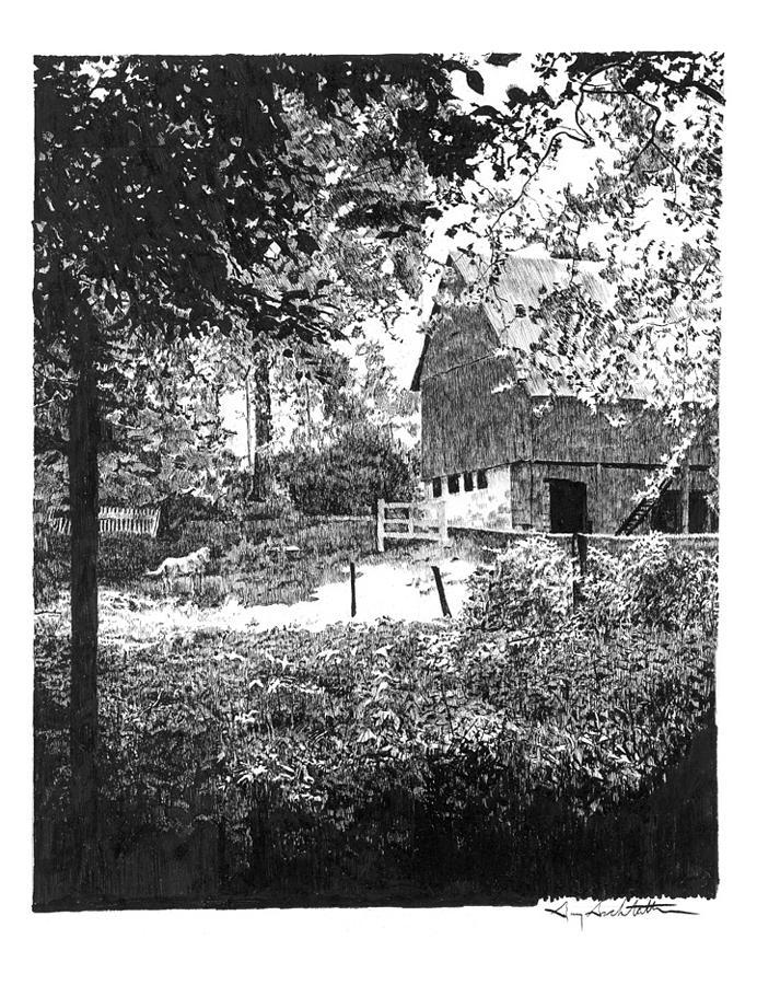Farm Drawing - Farm In Illinois by Gary Gackstatter