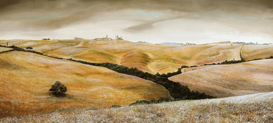 Italian; Tuscan; Rural; Italian Landscape; Agricultural; Fields; Hills; Farming; Tree; Trees; Agriculture; Toscane; Italy; Tuscany Painting - Farm On Hill - Tuscany by Trevor Neal