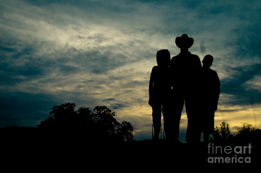 Silhouette Photograph - Farmer Family by Andre Babiak