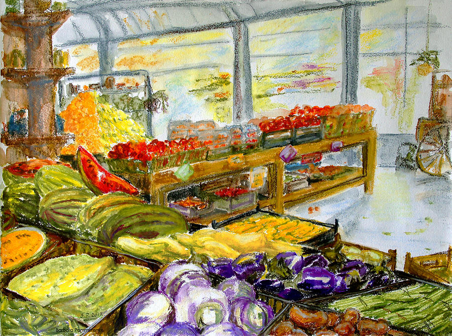 Farmers Market In Fort Worth Texas Painting by Barbara Pommerenke