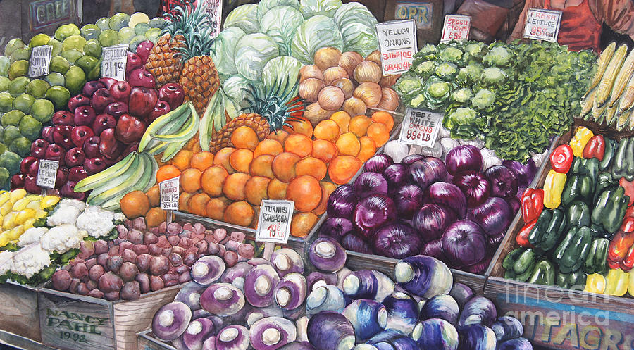 Watercolor Painting - Farmers Market by Nancy Pahl