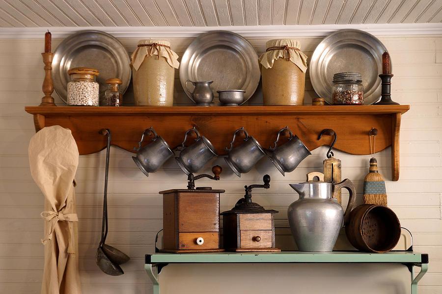 Antique Kitchen Photograph - Farmhouse Collectables by Carmen Del Valle