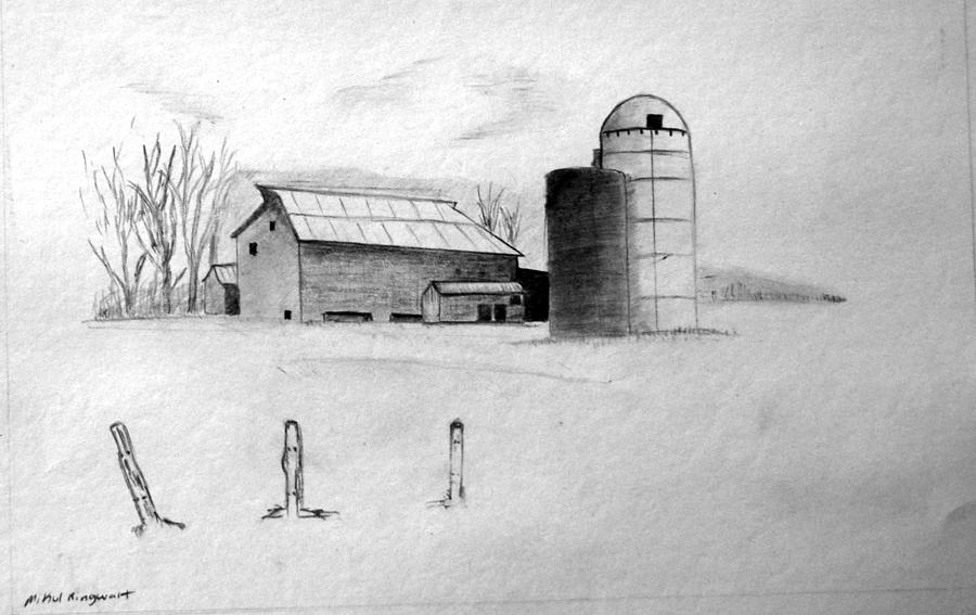 Farm Drawing - Farmhouse by Michael Ringwalt