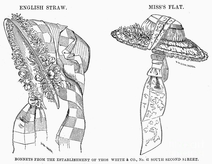 1854 Photograph - Fashion: Bonnets, 1854 by Granger