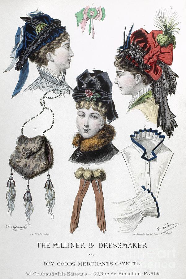1875 Photograph - Fashion: Hats, C1875 by Granger