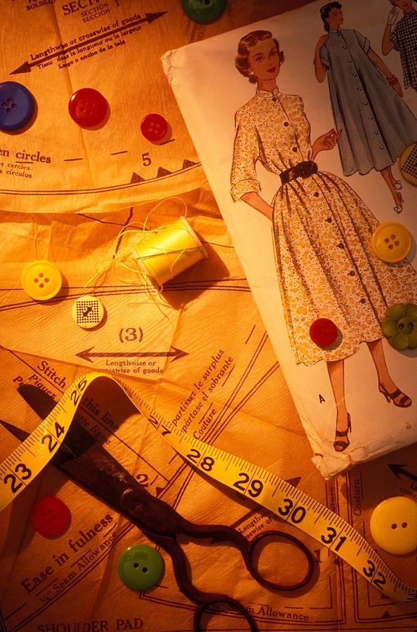 Fashion Photograph - Fashion Old Dress Pattern by Garry Gay