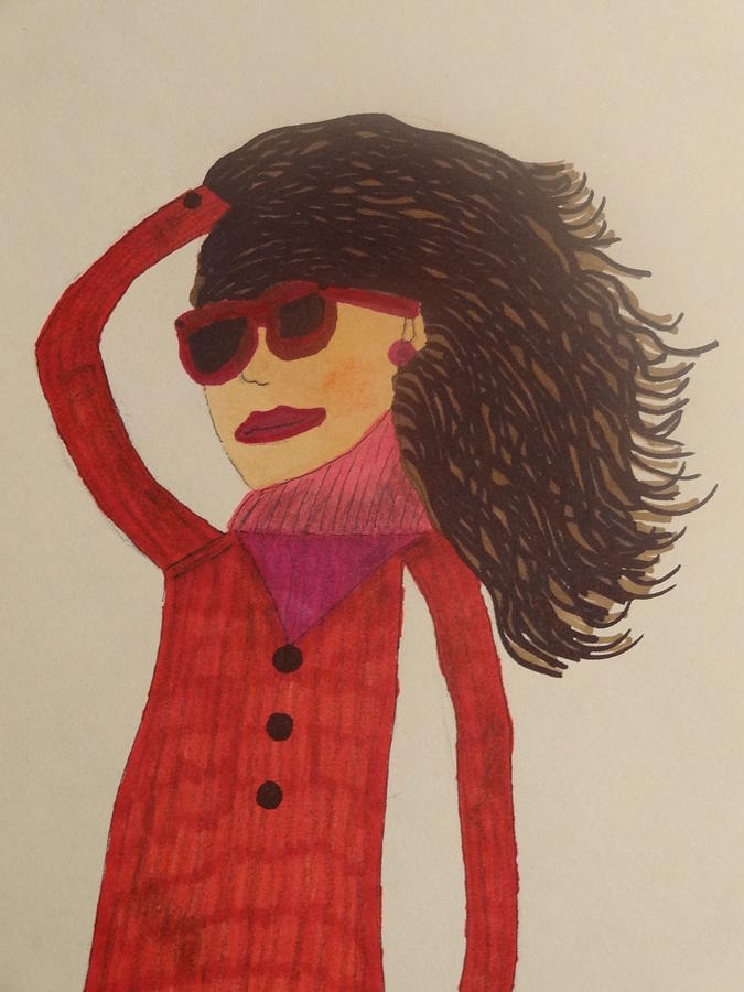 Fashion Model Drawing - Fashionista Sixty Two by Nancy Fillip