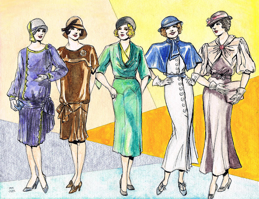 Fashions Ladies 1920s And 1930s Drawing By Mel Thompson