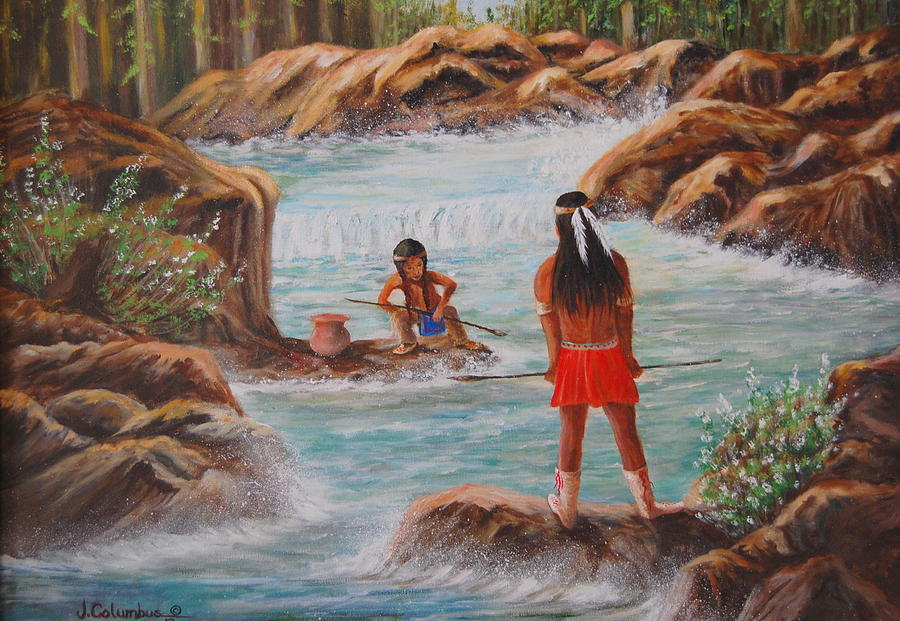 Indian Boy Painting - Father And Son Fishing Day by Janna Columbus