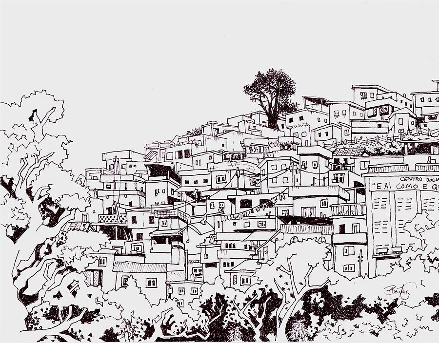 Favelas Drawing - Favelas  by Ben Leary
