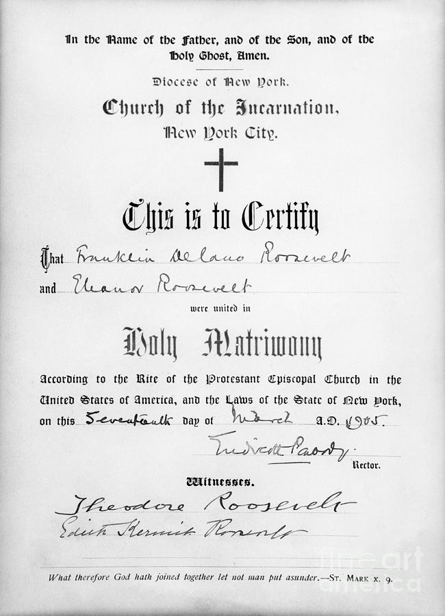 Fdr Marriage Certificate Photograph By Granger