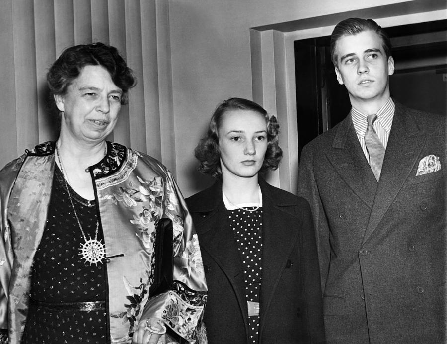 1940s Photograph - Fdr Presidency. From Left First Lady by Everett