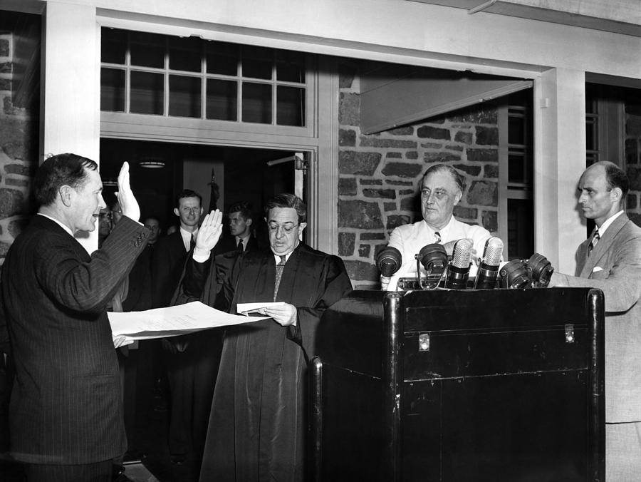 1940s Photograph - Fdr Presidency.  From Left Samuel Eliot by Everett