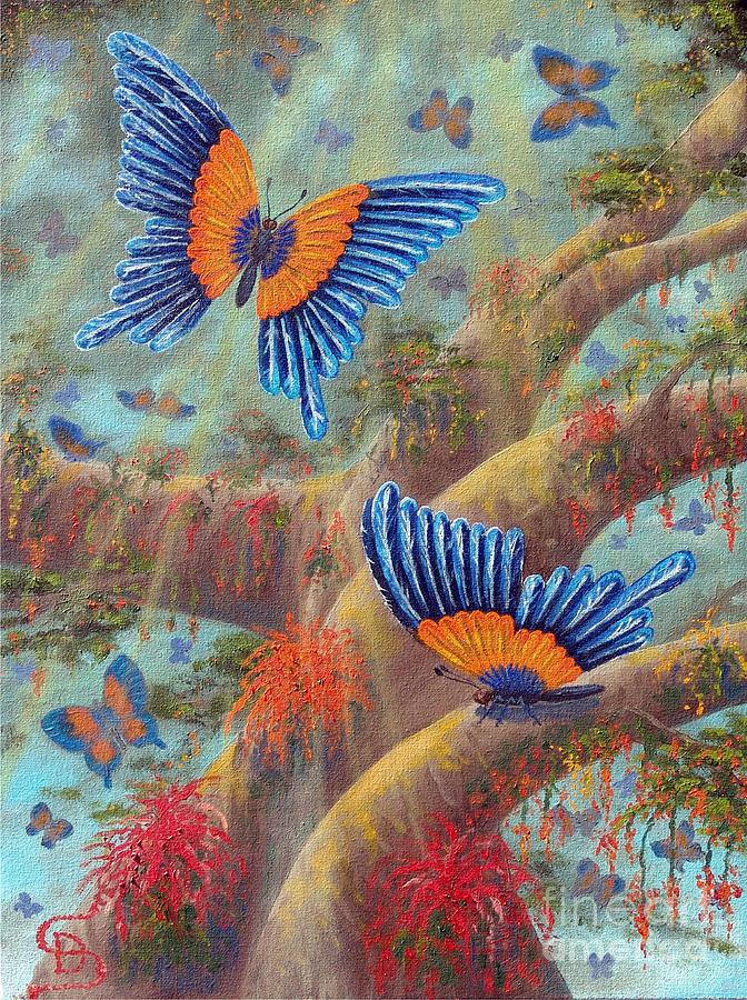 Feather Butterflies Painting - Feather Butterflies From Arboregal by Dumitru Sandru