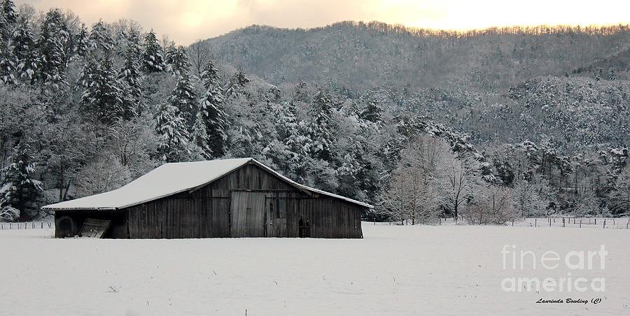 Barn Photograph - Februarys Snow by Laurinda Bowling