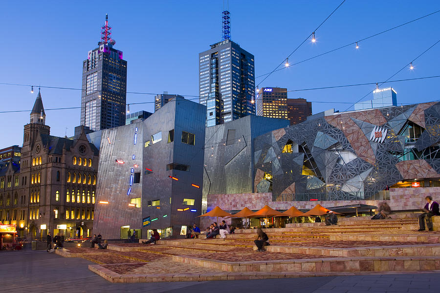 Horizontal Photograph - Federation Square At Dusk by Greg Elms