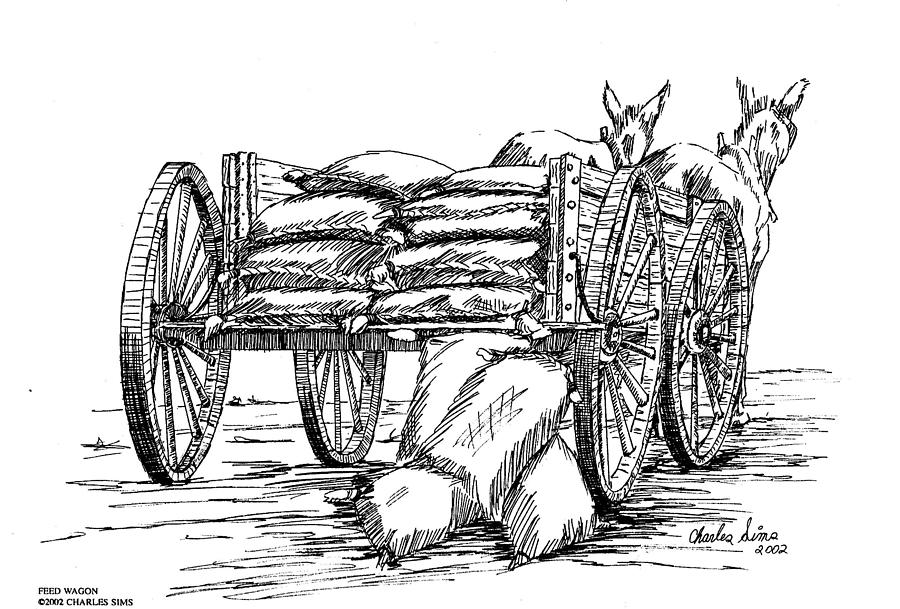 Feed Drawing - Feed Wagon by Charles Sims