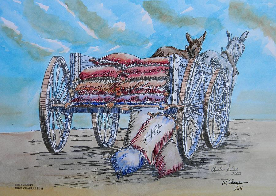 Sky Painting - Feed Wagon Watercolor by Charles Sims and Warren Thompson