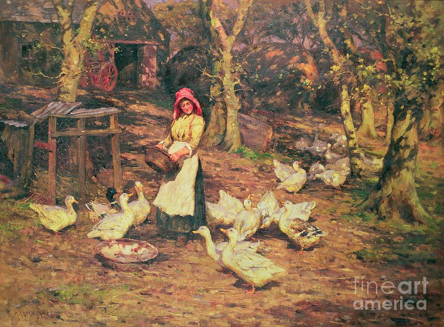 Joseph Harold Swanwick Painting - Feeding The Ducks by Joseph Harold Swanwick