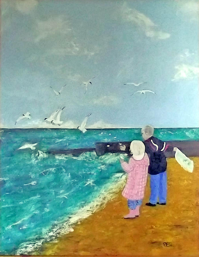 Oil Drawing - Feeding The Gulls by Peter Edward Green