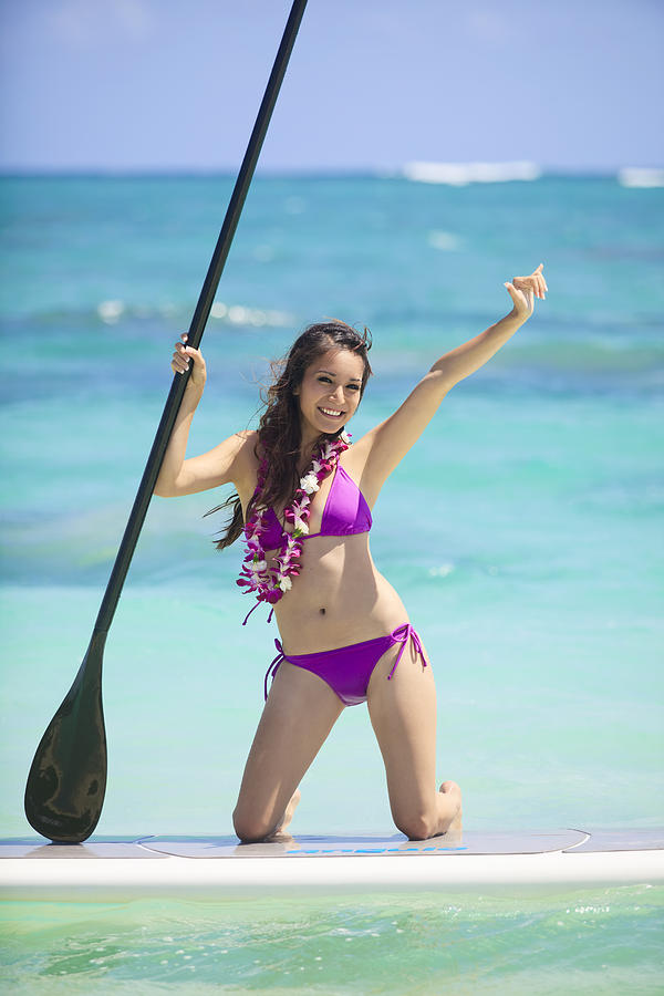 Athletic Photograph - Female Stand Up Paddler by Tomas del Amo