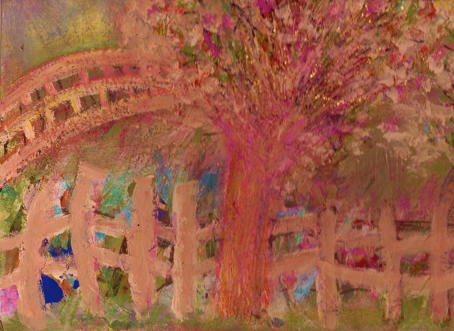 Tree Painting - Fence And Tree by Anne-Elizabeth Whiteway