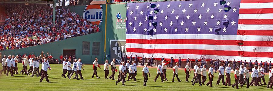 Us Flag Photograph - Fenway Park 100th by Joann Vitali