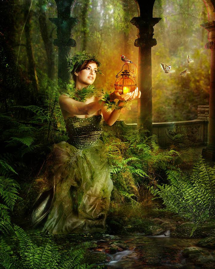 Green Digital Art - Fern by Mary Hood
