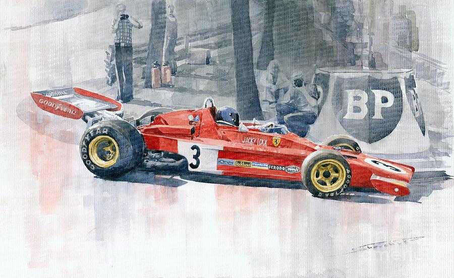 Watercolor Painting - Ferrari 312 B3 Monaco Gp 1973 Jacky Ickx by Yuriy  Shevchuk