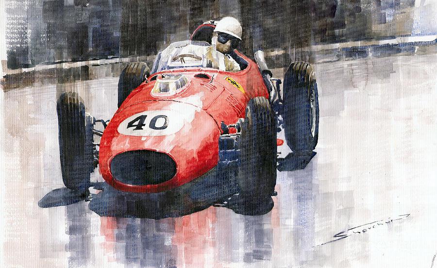 Watercolour Painting - Ferrari Dino 246 F1 Monaco Gp 1958 Wolfgang Von Trips by Yuriy  Shevchuk