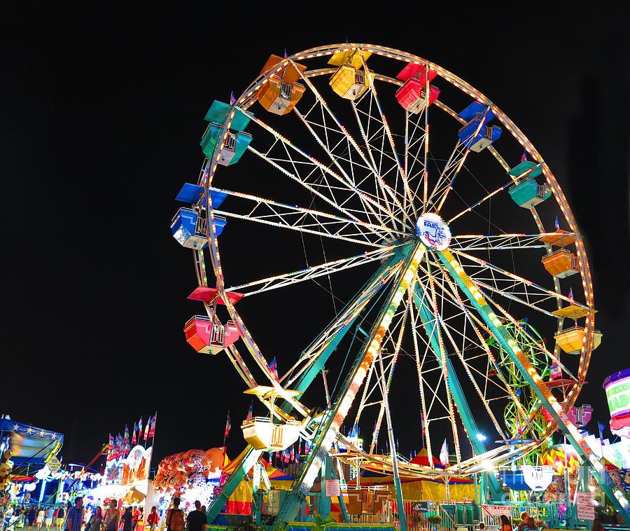 Ferris Wheel Photograph - Ferris Wheel At Night by Heidi Hermes