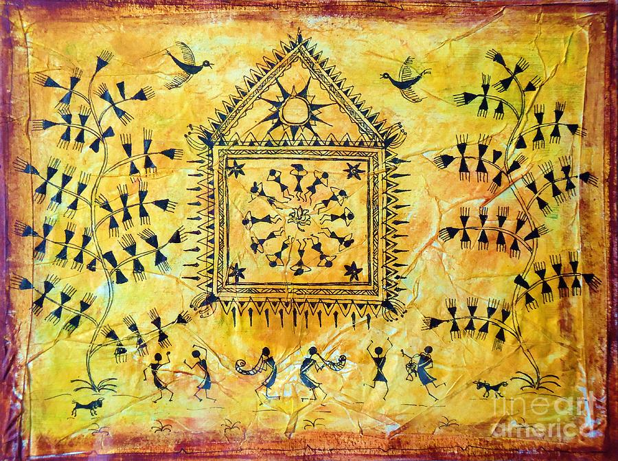 Yellow Paper Painting - Festival Time by Anjali Vaidya