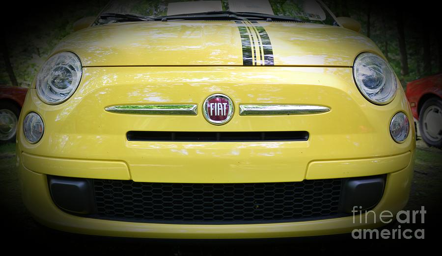Fiat Photograph - Fiat 500 Yellow With Racing Stripe by Paul Ward