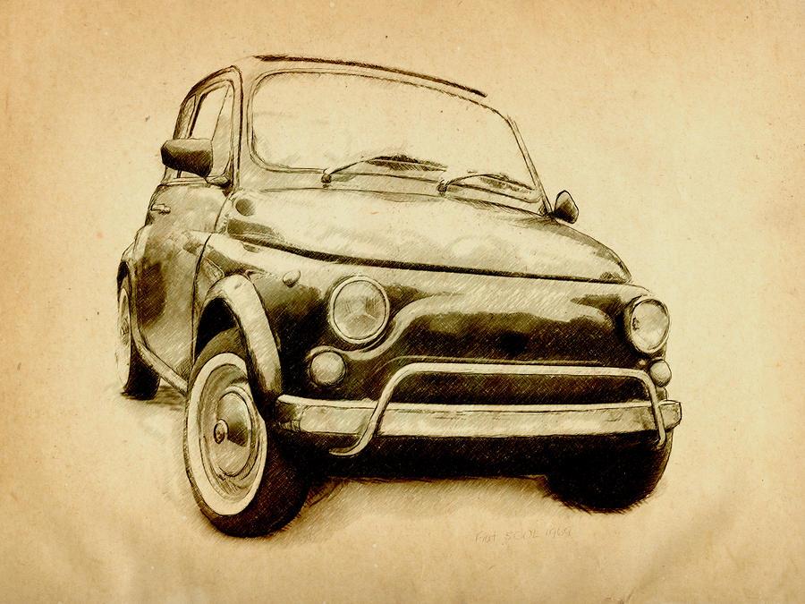 Fiat 500l 1969 Digital Art by Michael Tompsett