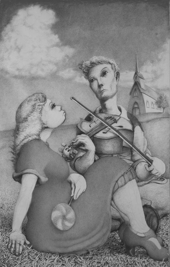 Louis Drawing - Fiddle by Louis Gleason