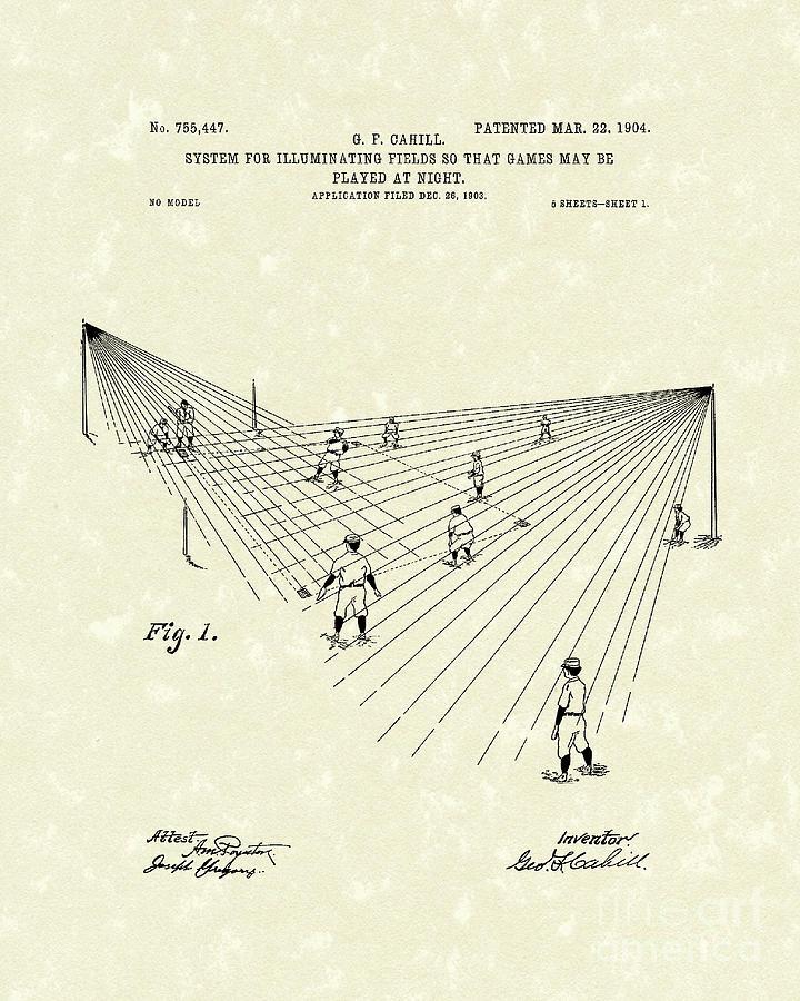 Cahill Drawing - Field Lighting 1904 Patent Art by Prior Art Design