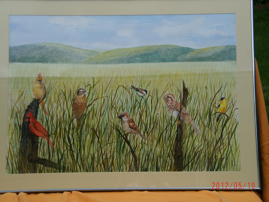 Cardinals Painting - Field Of Birds by Mary ann  Snyder