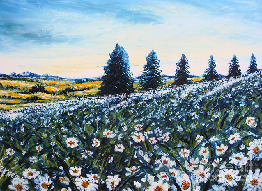 Daisy Painting - Field of Flowers by Drinka Mercep