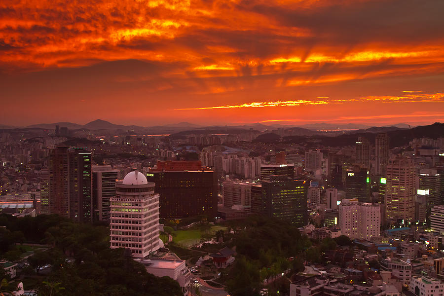 City Photograph - Fiery Seoul Sunset by Gabor Pozsgai