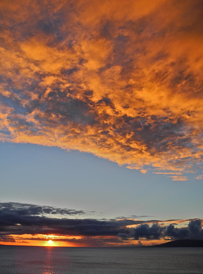 Sky Photograph - Fiery Sky At Sunset In Maui by Kirsten Giving