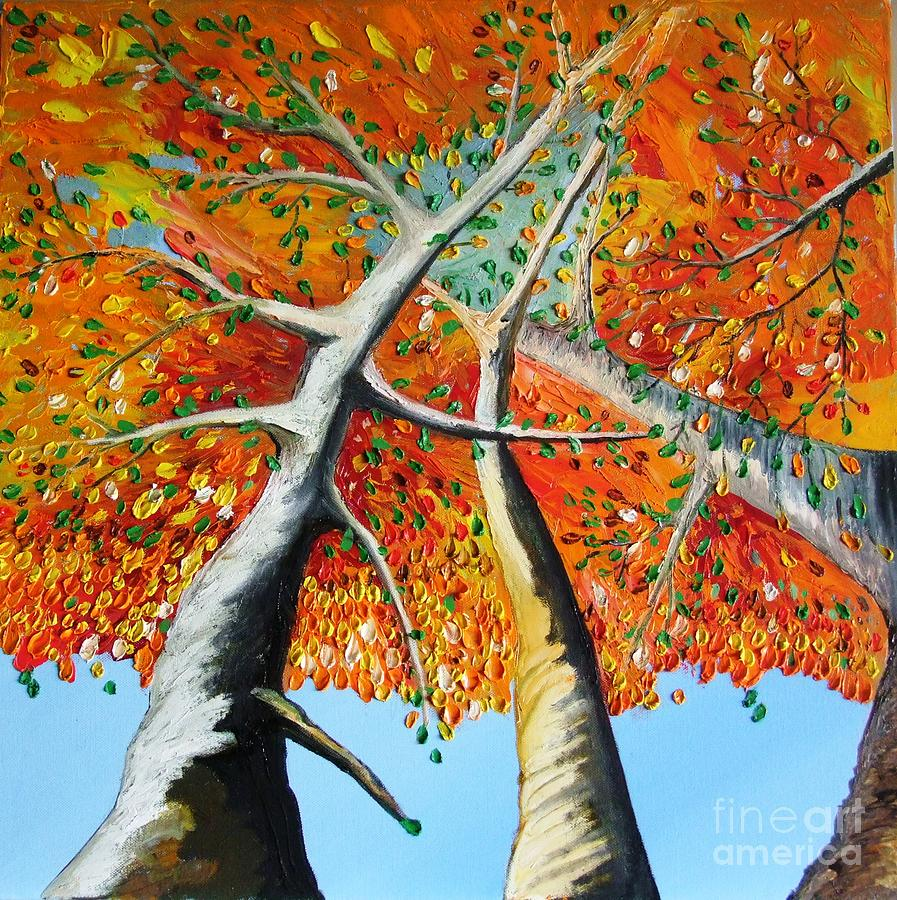 Landscape Painting - Fiery Trees by Alfie Borg