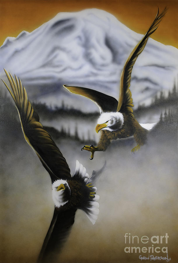 Eagles Painting - Fight In Flight 1 by Gordon Paterson