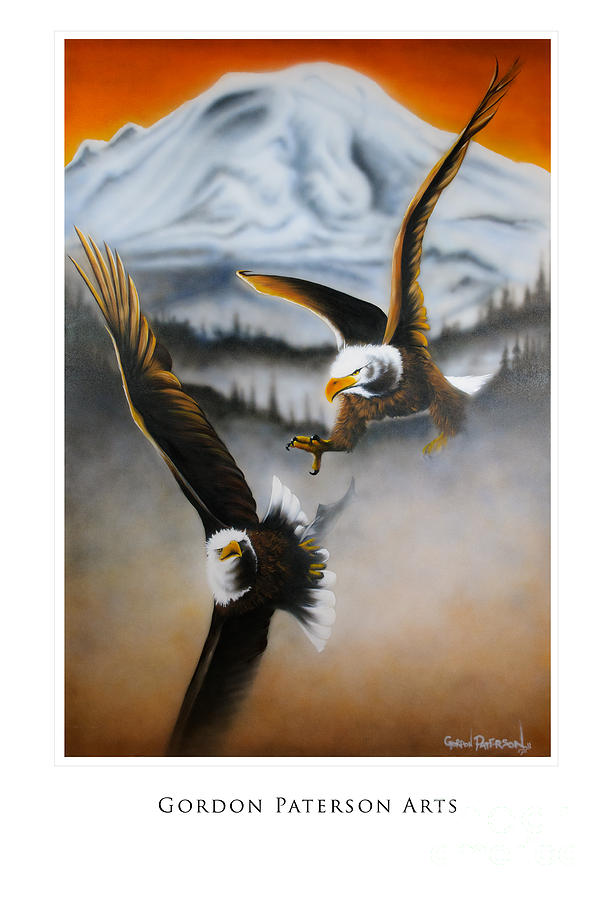 Eagles Painting - Fight In Flight by Gordon Paterson