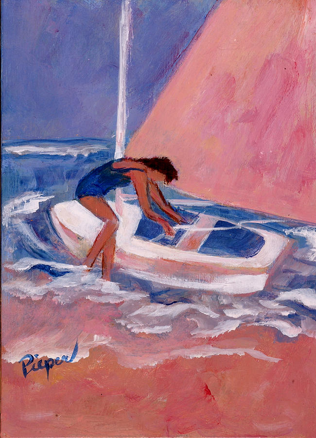 Woman And Sail Boat Painting - Fighting To Set Sail by Elzbieta Zemaitis