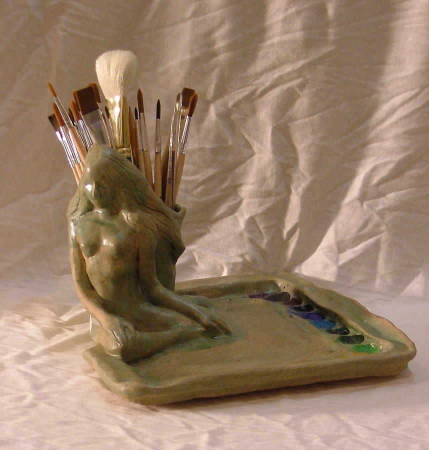 Figurative Water Color Palette Ceramic Art by Charles Scogins