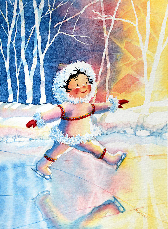 Childrens Book Illustrator Painting - Figure Skater 11 by Hanne Lore Koehler