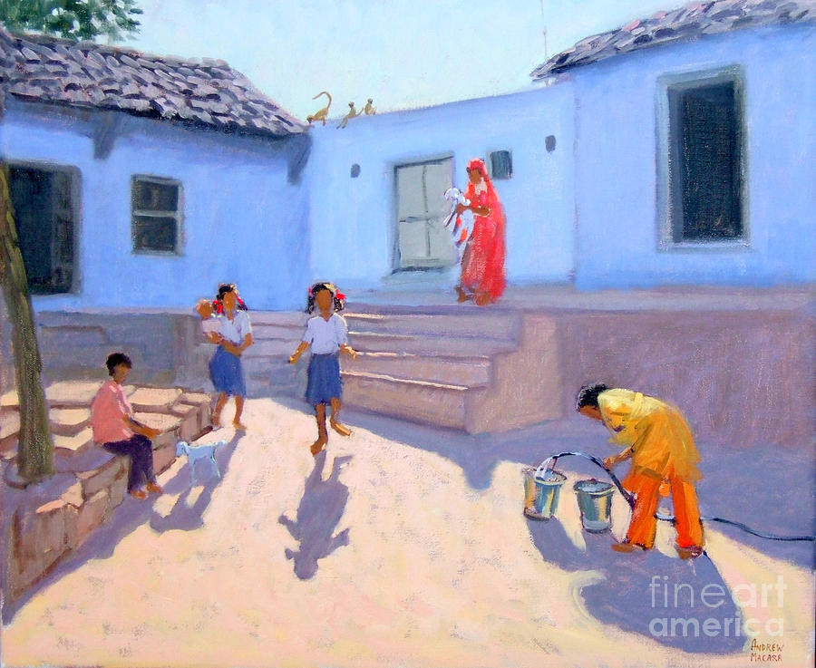 Indian Painting - Filling Water Buckets by Andrew Macara