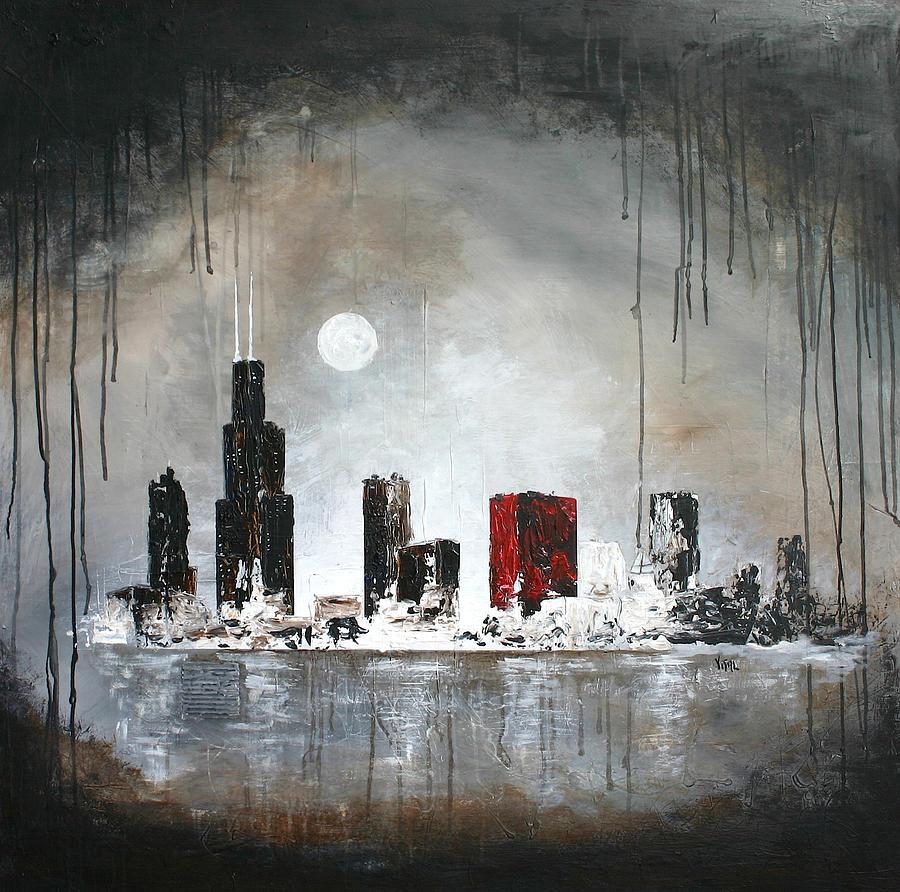 Film noir chicago painting by germaine fine art for Chicago mural artist