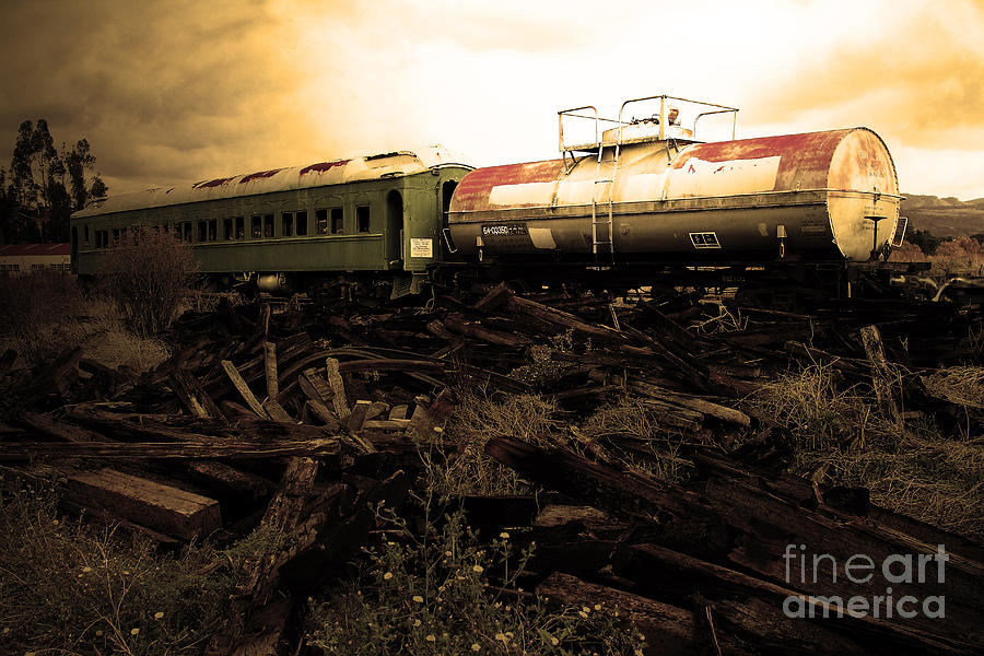 Train Photograph - Final Stop Express . Sepia . 7d8995 by Wingsdomain Art and Photography