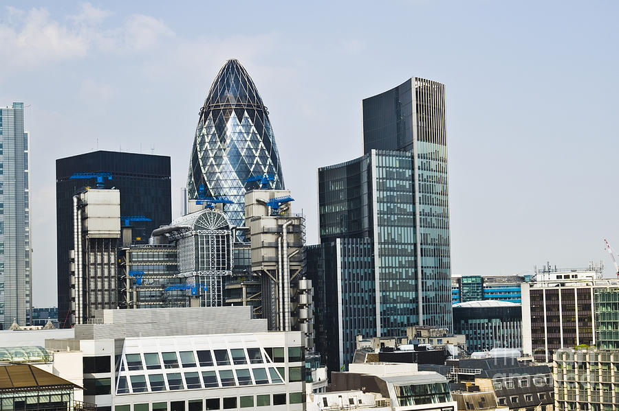 Architectural Detail Photograph - Financial Skyline Of London by John Harper